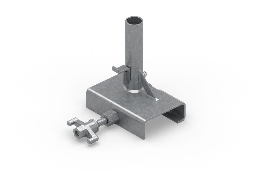 Umożliwia montaż zabezpieczenia krawędzi na dźwigarach lub drewnianych belkach. Maksymalna szerokość górnego T=95 mm.