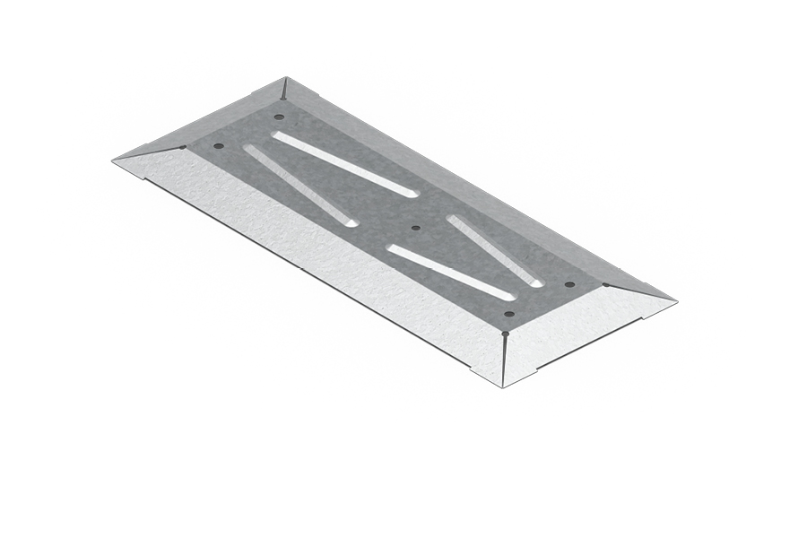 Stopa wykorzystywana jest do montażu uchwytu poziomego EPS-UPZ, na którym następnie montowane są słupek oraz panel EPS. To rozwiązanie nie może być stosowane jako zabezpieczenie krawędzi.